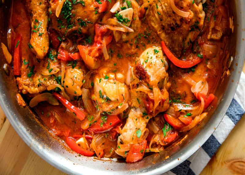 Рецепт приготовления курицы по-охотничьи или Поло а-ла Каккьяторе фото