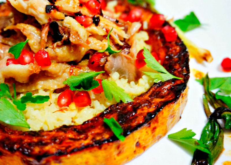 Рецепт приготовления курицы во фритюре с рисом, тыквой и гранатом фото