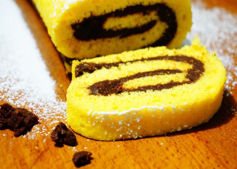 Рецепт бисквитного рулета с домашней нутеллой фото