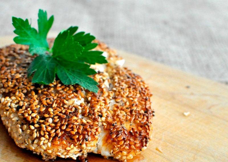 Рецепт курицы в духовке с кунжутной корочкой фото