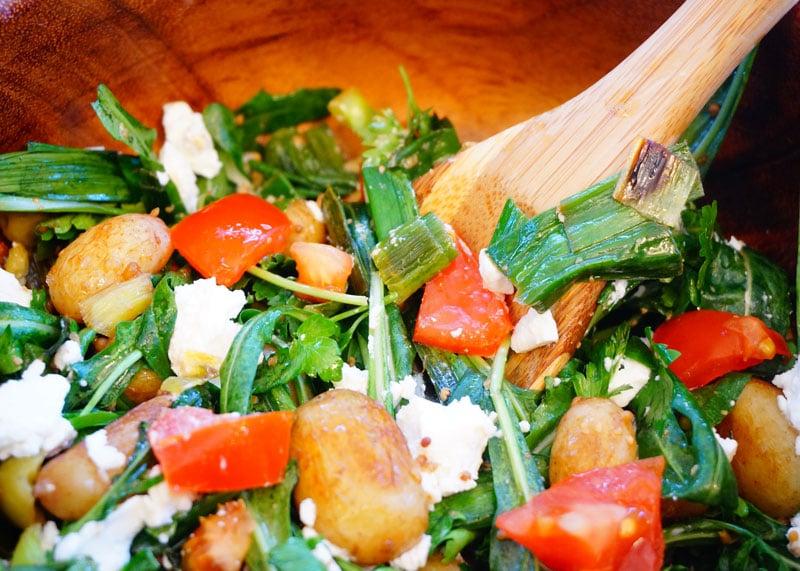 Картофельный салат с фетой приготовление фото