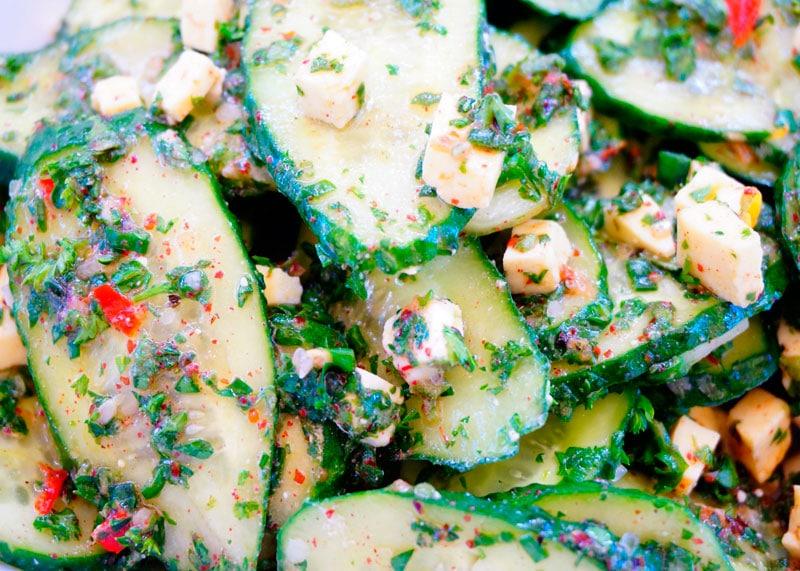 Салат из огурцов с фетой рецепт фото