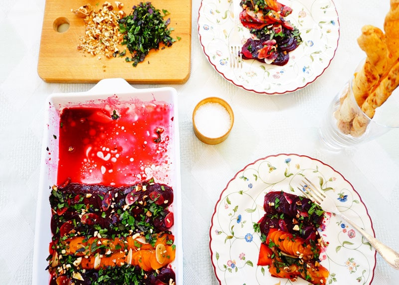 Карпаччо из свеклы и моркови приготовление фото