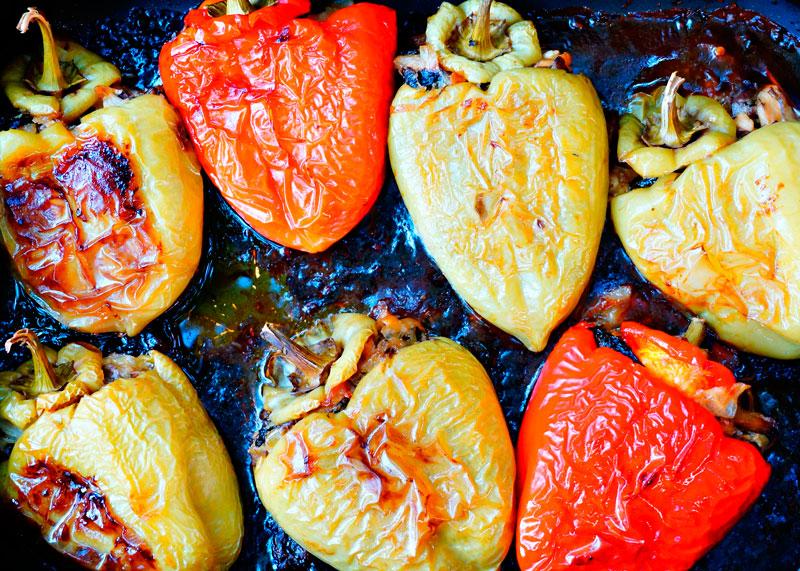 Фаршированные перцы с грибами фото
