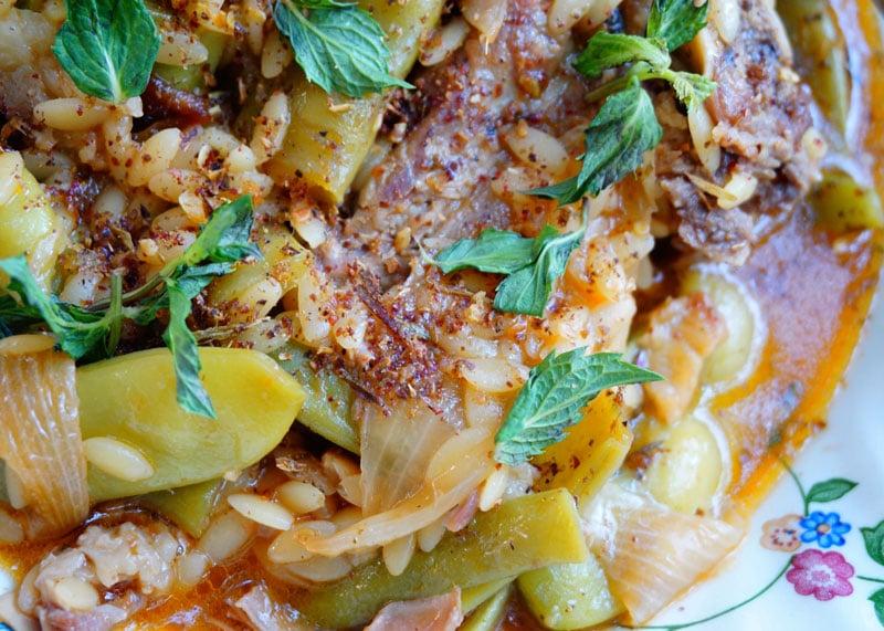 Рецепт баранины с фасолью и мятой