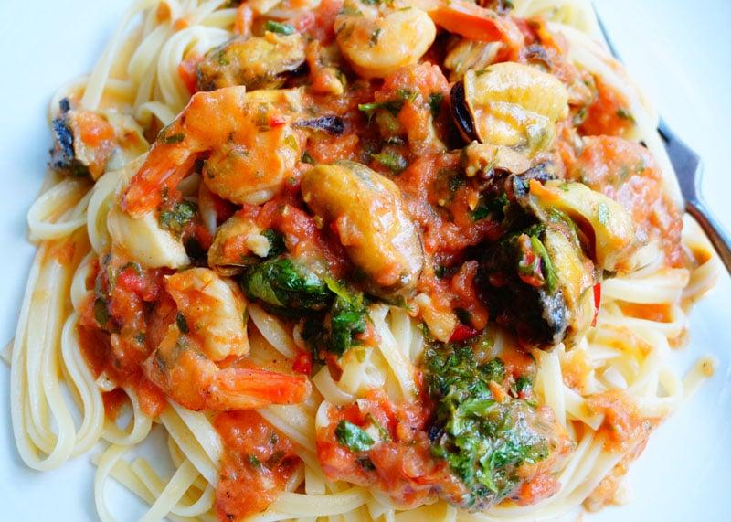 Лингвини с морепродуктами рецепт приготовления фото