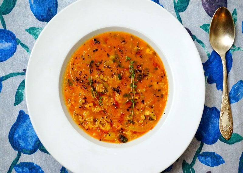 Рецепт томатного супа из чечевицы и риса фото