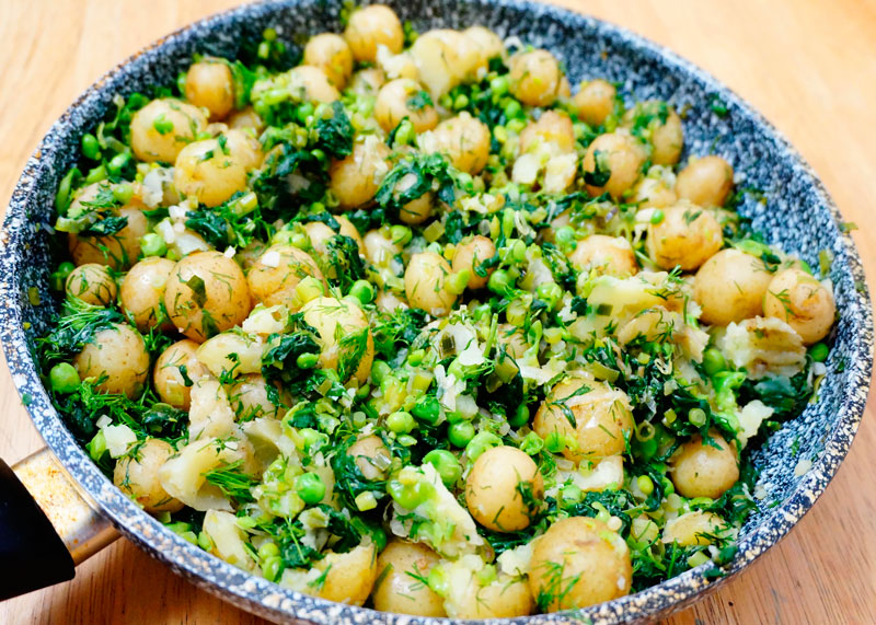 Рецепт молодой картофель со шпинатом фото