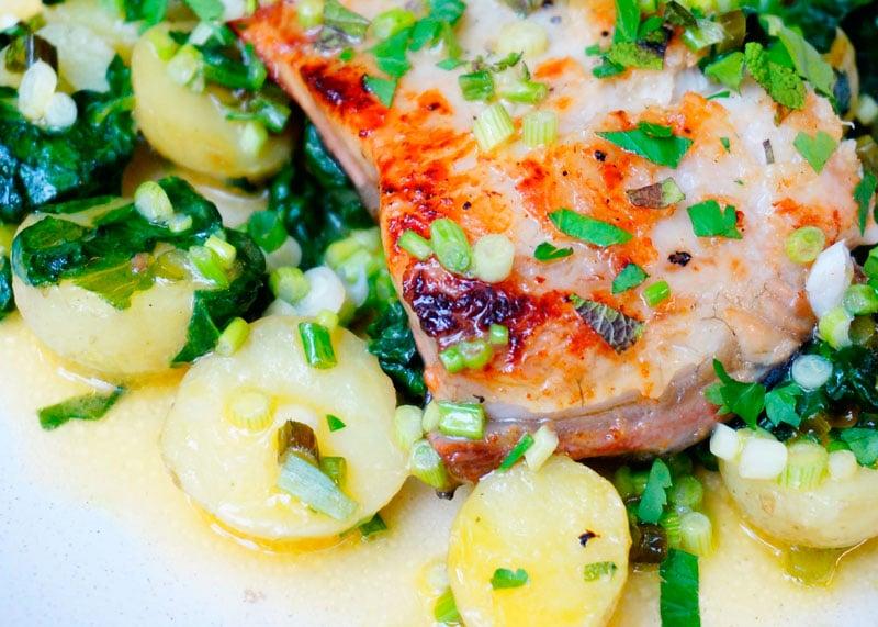 Рецепт белая рыба с теплым салатом фото