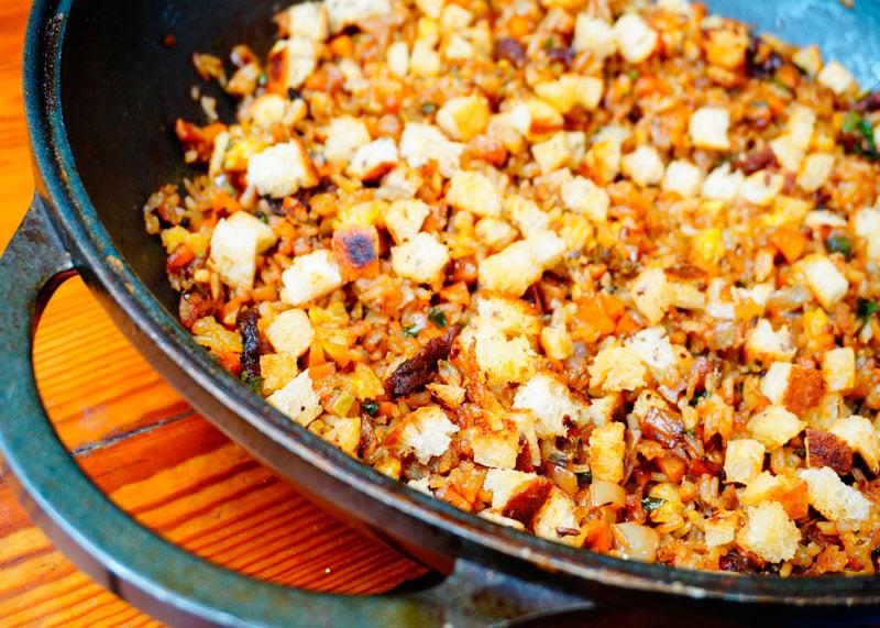 Рецепт жаренного риса с крутонами фото