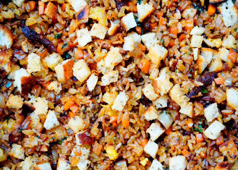Рис с овощами и крутонами фото