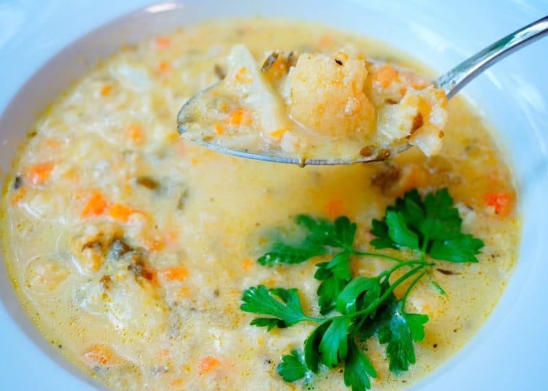 Сырный суп с цветной капустой рецепт фото