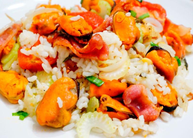 Жареный рис с мидиями рецепт фото