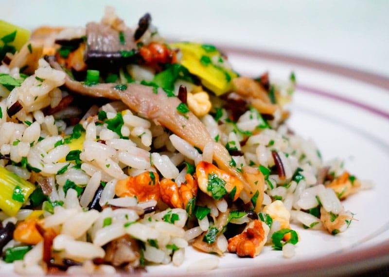 Рис с грецкими орехами и грибами приготовление фото