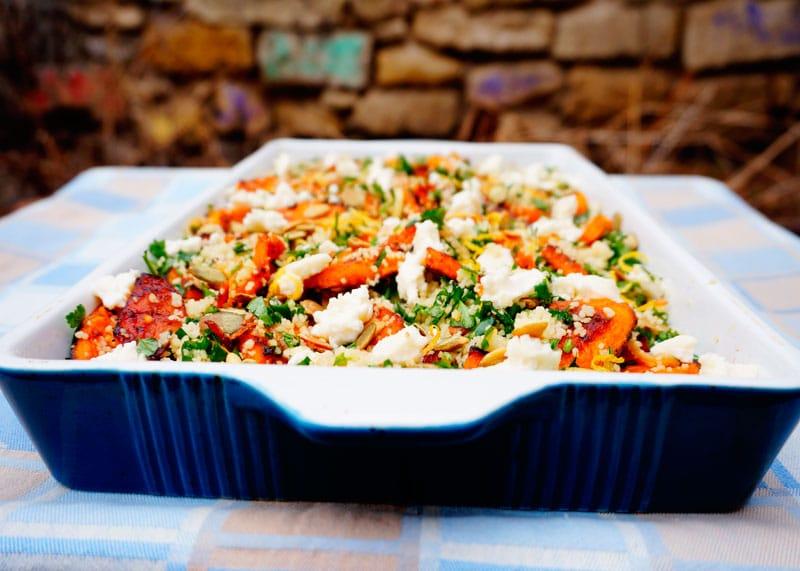 Салат из кус-куса и жареной тыквы приготовление фото