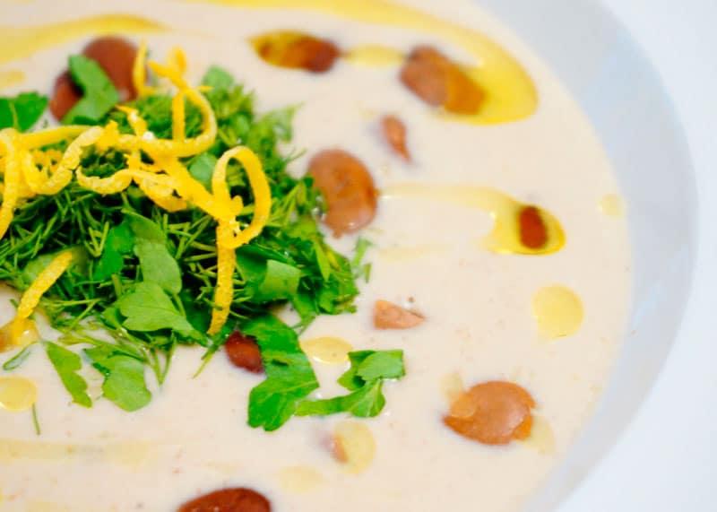 Суп из бобов фава и йогурта фото