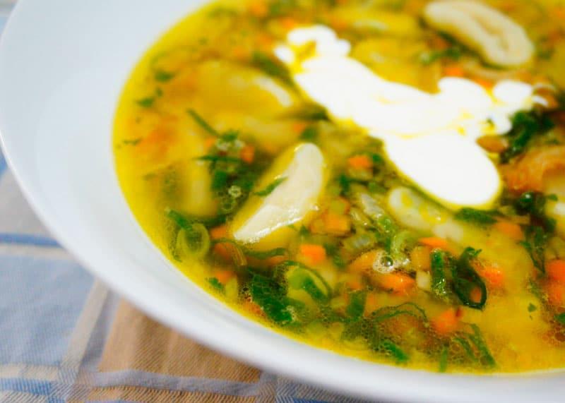 Суп с галушками фото