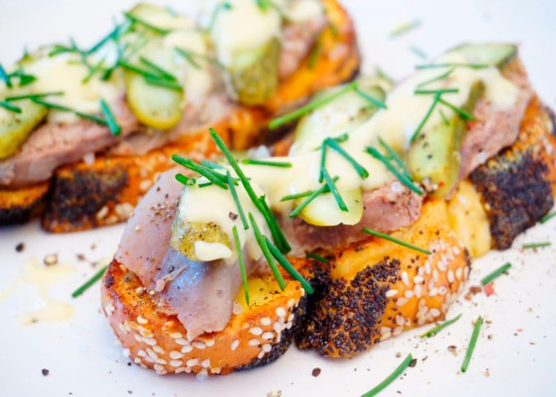 Французские тосты с отварным языком приготовление фото