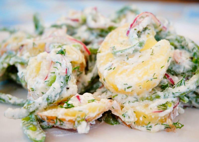 Картофельсалат с зеленой фасолью фото