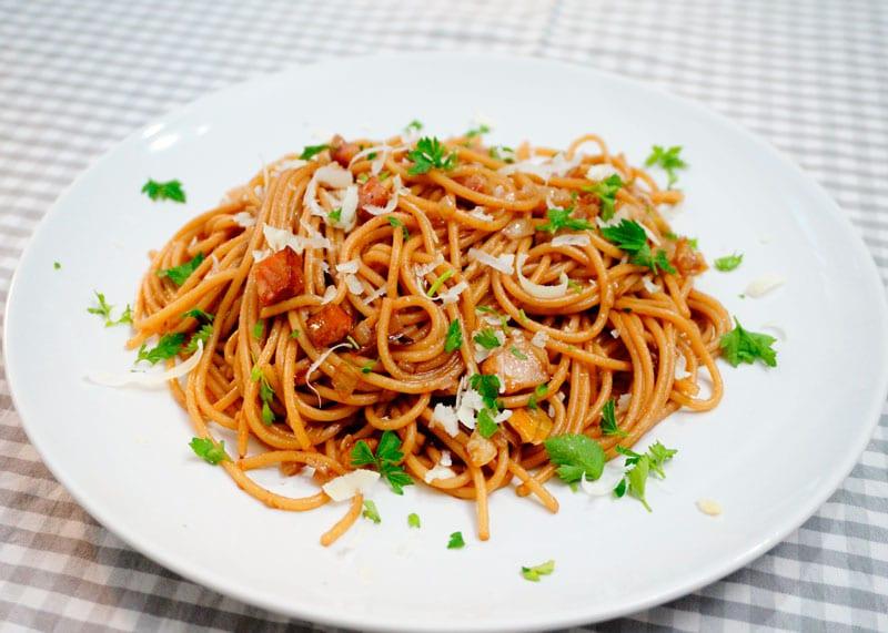 Пьяные спагетти приготовление фото