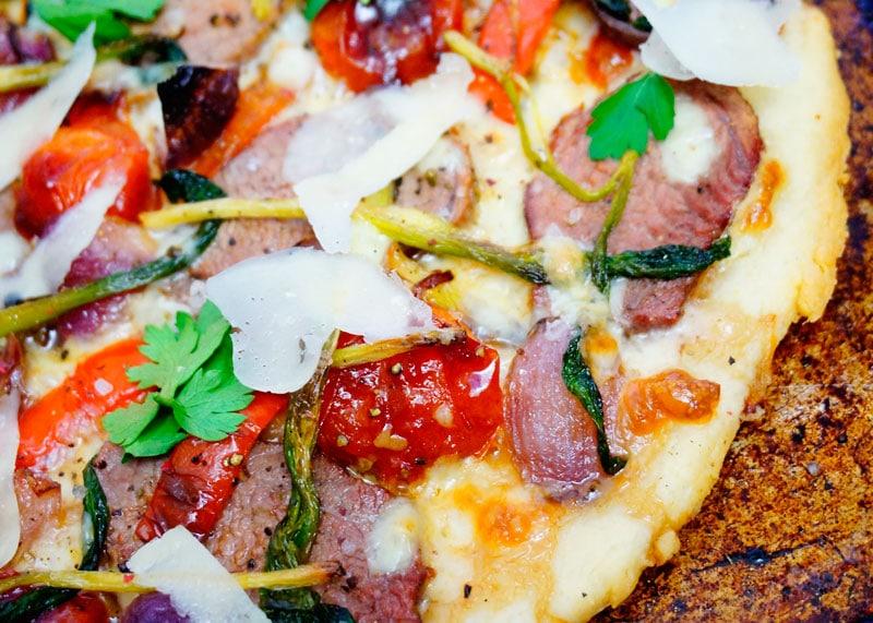 Пицца с жареной телятиной рецепт фото