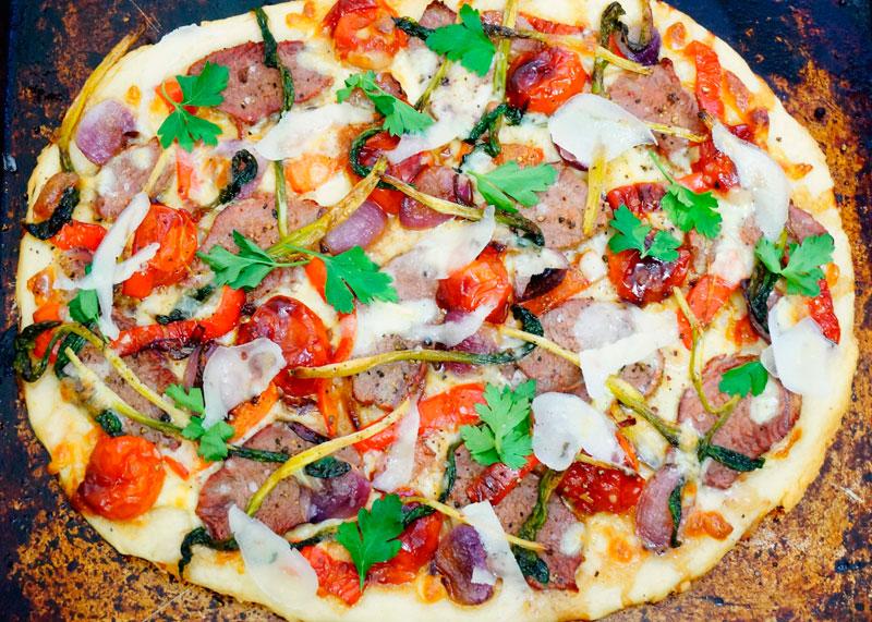 Пицца с жареной телятиной приготовление фото