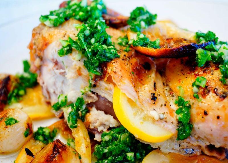 Рецепт Цыпленок с лимонами и луком шалот фото