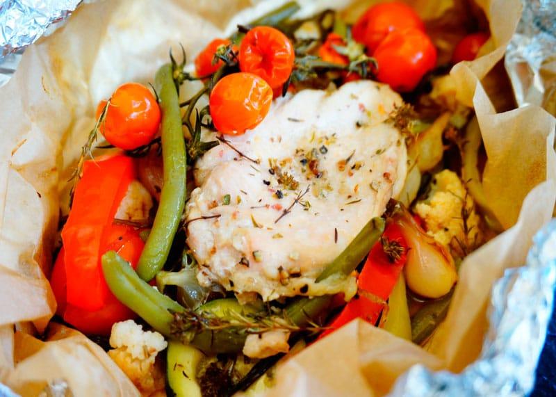Курица с овощами в папильотке рецепт фото