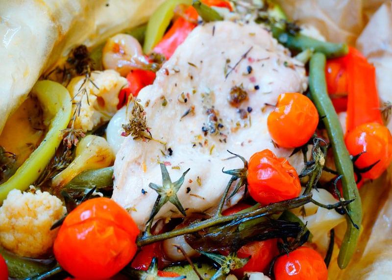 Курица с овощами в папильотке приготовление фото