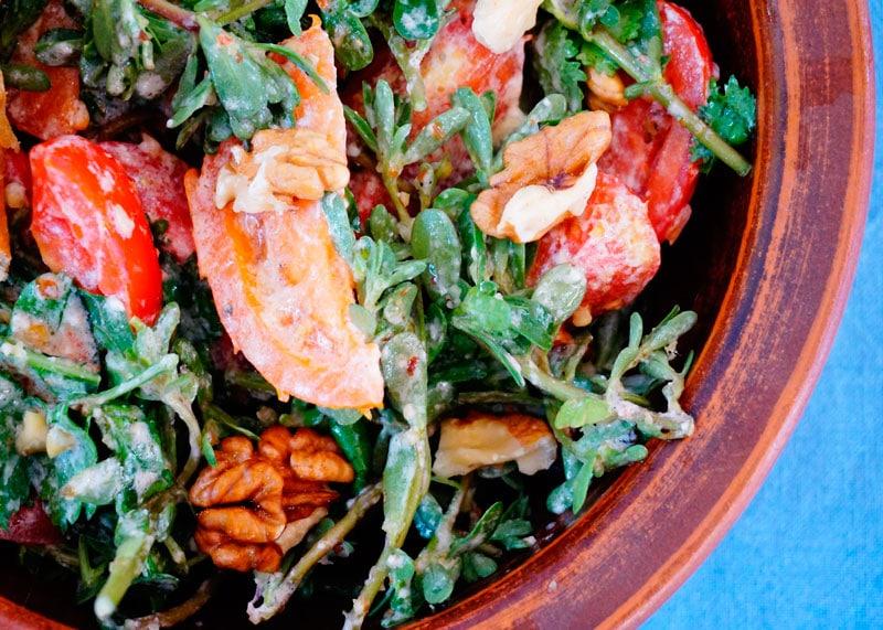 Салат из помидоров и портулака фото