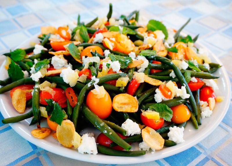 Салат из зеленой фасоли и маринованных лимонов рецепт приготовления фото