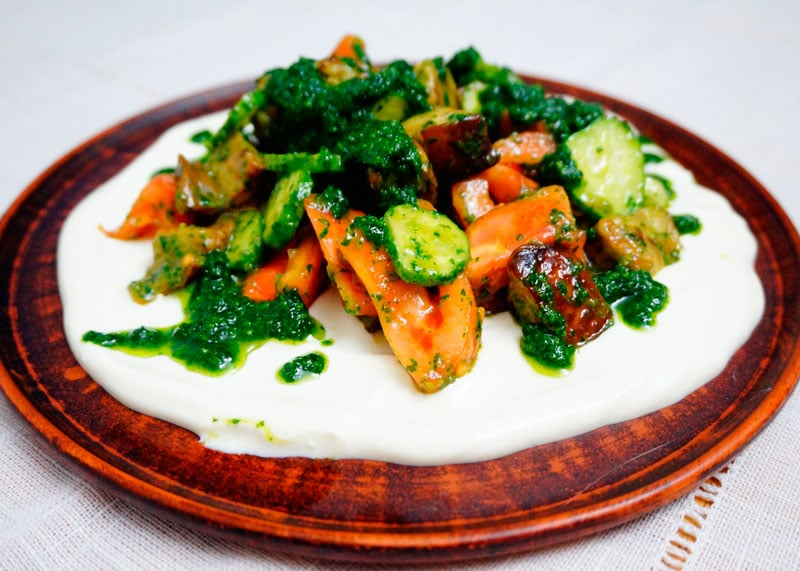 Салат из жаренных баклажанов приготовление фотофото