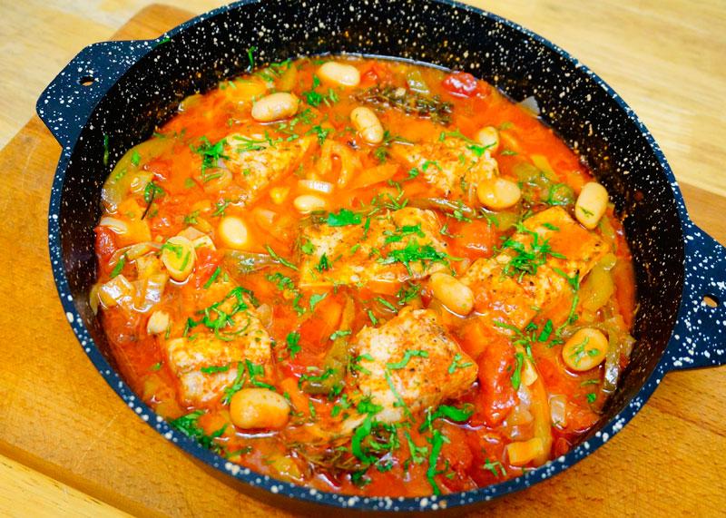 Рыба, тушеная со сладкими перцами рецепт фото