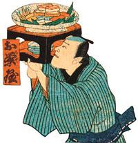 Разносчик суши фото