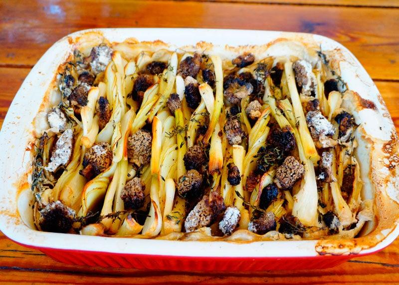 Гратен из молодого картофеля и сморчков рецепт фото