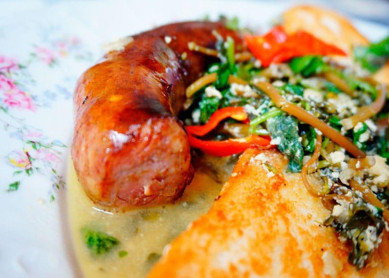 Домашняя колбаса и портулак фото