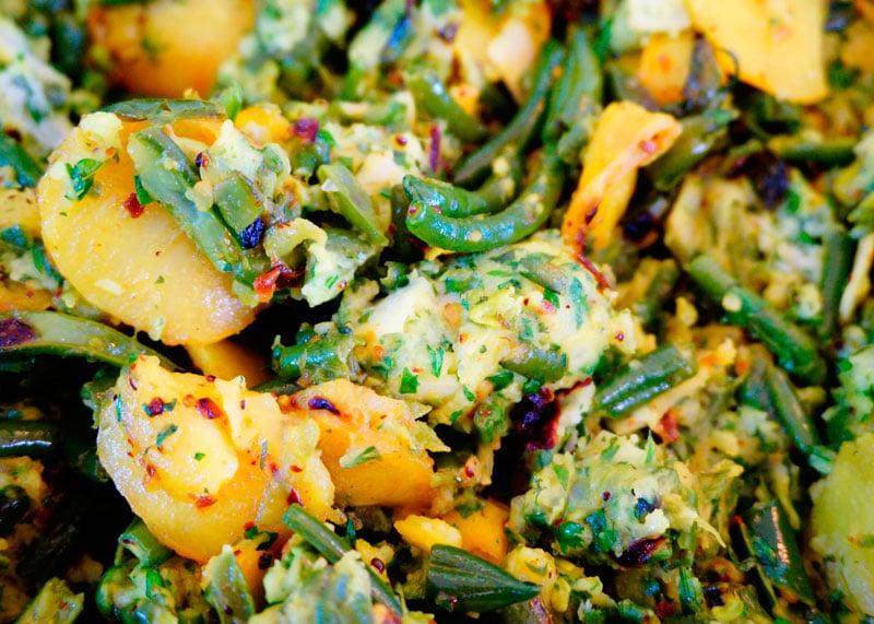 Палья из картофеля и зеленой фасоли рецепт фото